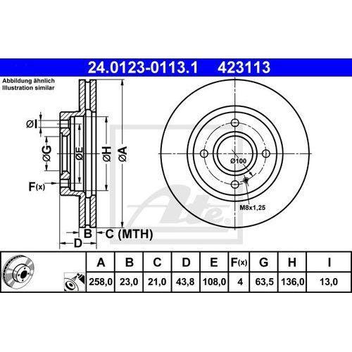 TARCZA HAM ATE 24.0123-0113.1 FORD FIESTA VI 1.4TDCI 70KM 10-, 1.5TDCI 75KM 12-