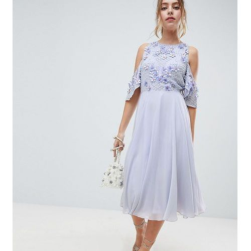Asos design petite cold shoulder floral bodice midi skater dress - blue, Asos petite