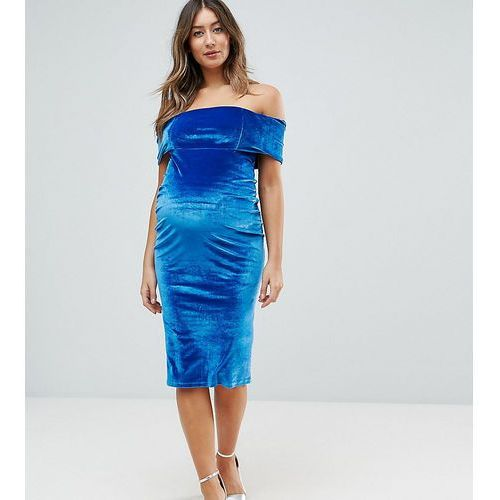 deep off the shoulder bardot midi bodycon dress in velvet - blue marki Asos maternity