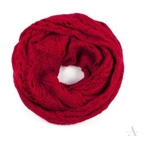 Szykowny szalik damski komin z ażurowym wzorem czerwony - czerwony, kolor czerwony