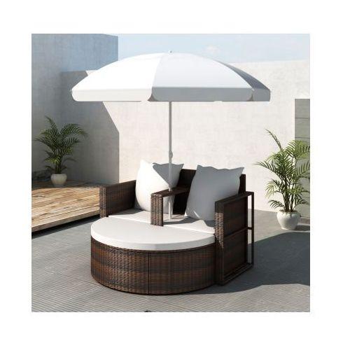 Rattanowa sofa z parasolem (Brązowa), vidaXL z VidaXL