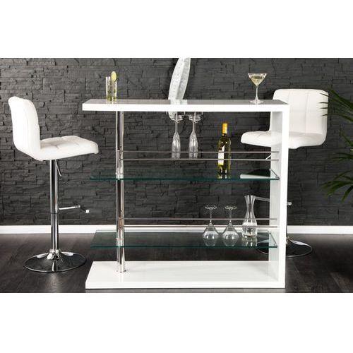 IiNTERIOR Simple Biały Stół Barowy Lakierowany Na Wysoki Połysk Szklany 120cm - i21987 - produkt dostępny w sfmeble.pl