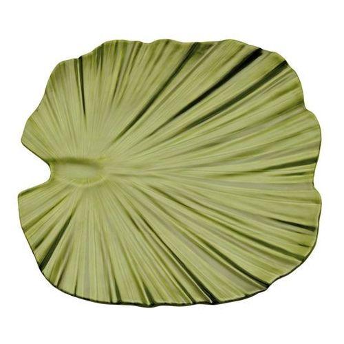 Półmisek z melaminy w kształcie liścia palmy 350x340 mm, zielony   APS, Natural collection