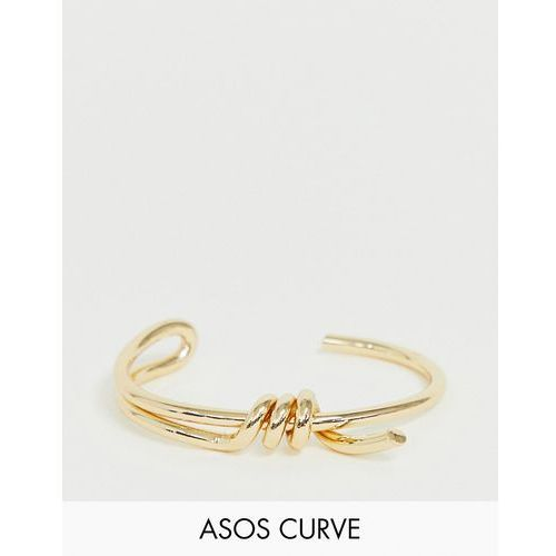 Asos design curve cuff bracelet with statement wire wrap design in gold tone - gold marki Asos curve