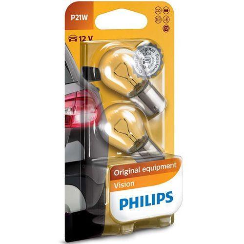ZESTAW 2x Żarówka samochodowa Philips VISION 12498B2 P21W BA15s/21W/12V (8711500055491)