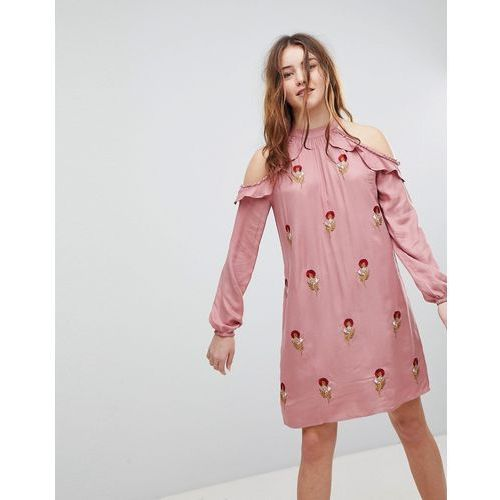 Glamorous Halterneck Dress With Floral Embroidery - Pink, kolor zielony