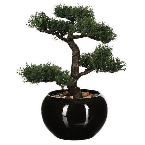Sztuczna drzewko bonsai, w ceramicznej doniczce, sztuczne kwiaty, uniwersalna dekoracja, ozdoba pokoju, biura, czarna doniczka, egzotyka marki Atmosphera créateur d'intérieur