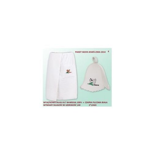 Produkcja własna Pakiet logo - kilt ręcznik 85*140cm 100% bawełna + czapka biała do sauny gruba k