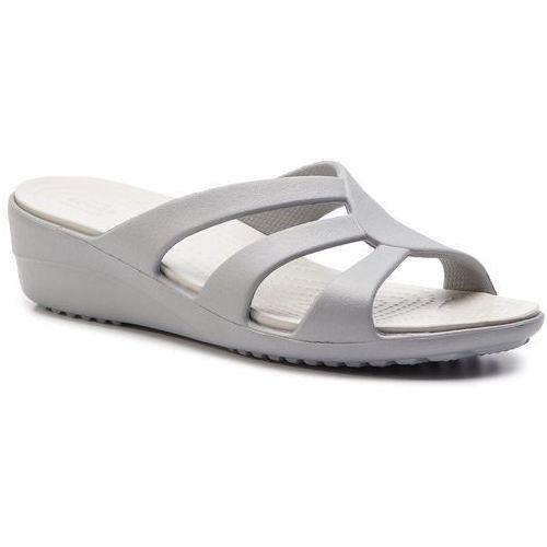 Crocs Klapki - sanrah strappy wedge 204010 silver/pearl white