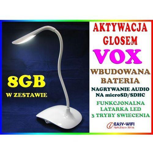 PODSŁUCH GSM W KSZTAŁCIE STOŁOWEJ LAMPKI NOCNEJ AKTYWACJA DŹWIĘKIEM VOX DYKTAFON + KARTA KINGSTON 8GB, Sklep Easy-WiFi