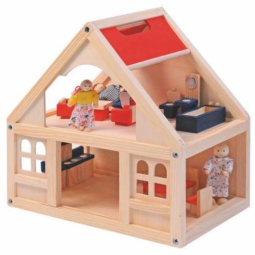 WOODY Domek dla lalek z akcesoriami - 21 części, marki Woody do zakupu w Feedo.pl