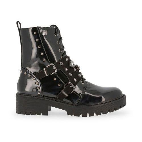 Buty za kostkę botki damskie LAURA BIAGIOTTI 5045PATENT-58, kolor czarny