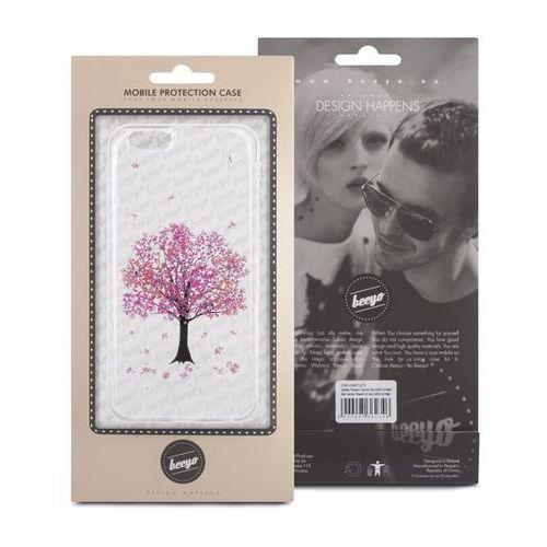 Silikonowa nakładka etui beeyo Blossom do iPhone 5/5s transparentna + różowa (5900495419781)