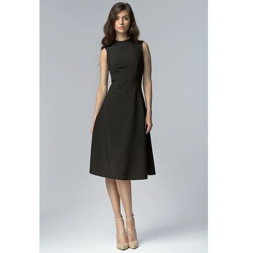 Czarna Elegancka Rozkloszowana Midi Sukienka bez Rękawów, rozkloszowana