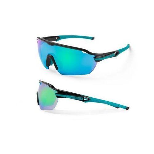 Okulary Accent Reflex czarno-turkusowe, 2 pary soczewek, kolor niebieski
