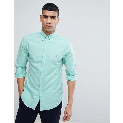 Polo ralph lauren slim fit garment dyed shirt polo player in light green - green