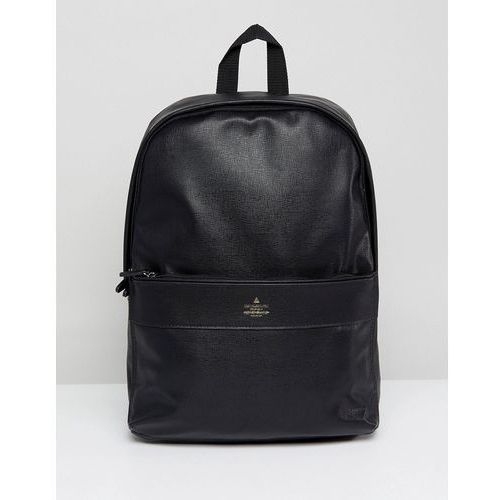 ASOS DESIGN Faux Leather Backpack In Black Saffiano Emboss And Foil Emboss - Black
