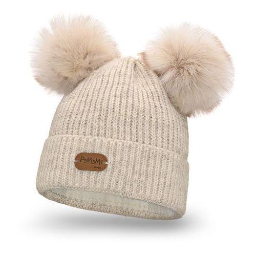 Zimowa czapka dziewczęca - beżowy marki Pamami