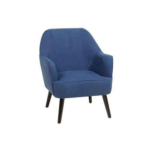 Fotel granatowy - wypoczynkowy - do salonu - tapicerowany - loken marki Beliani