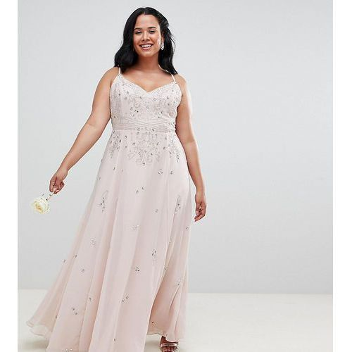 ASOS DESIGN Curves embellished cami maxi dress - Pink, kolor różowy
