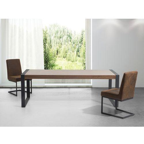 Stół - brązowy - 220 cm - kuchenny - do jadalni - czarne nóżki - POLAR