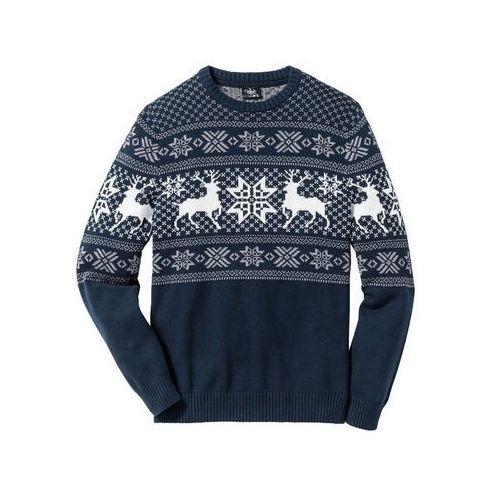 Sweter w norweski wzór Regular Fit bonprix ciemnoniebieski, 1 rozmiar