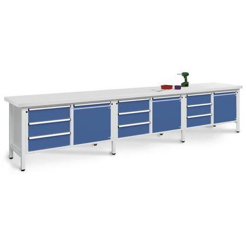 Stół warsztatowy, bardzo szeroki,3 drzwi, 9 szuflad z częściowym wysunięciem marki Anke werkbänke - anton kessel