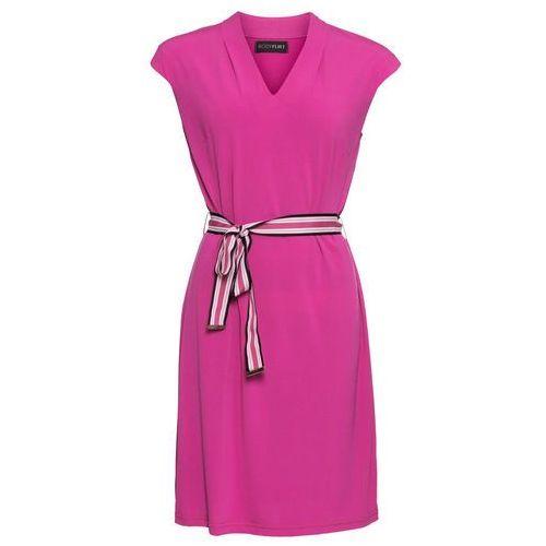 Sukienka z paskiem, krótki rękaw bonprix fuksja, kolor różowy
