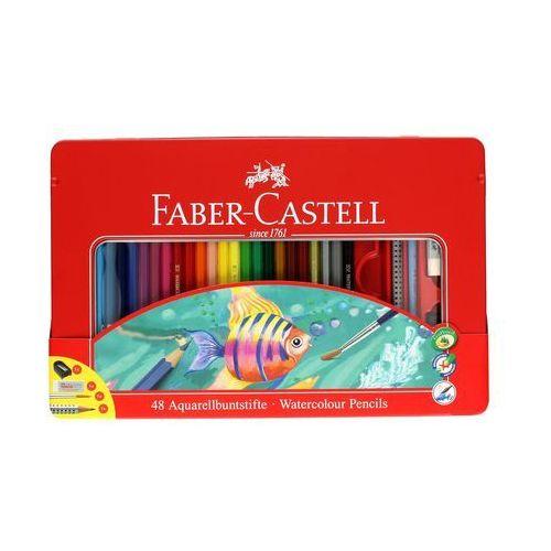 Faber castell Kredki akwarelowe 48kol +gumka+ołówek+pędzelek+temperówka opak. metalowe faber