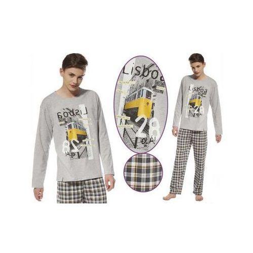 Piżama młodzieżowa LISBOA: szary/żółty