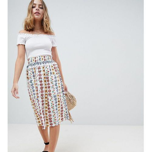 Asos petite cotton midi skirt with button front in floral print - multi