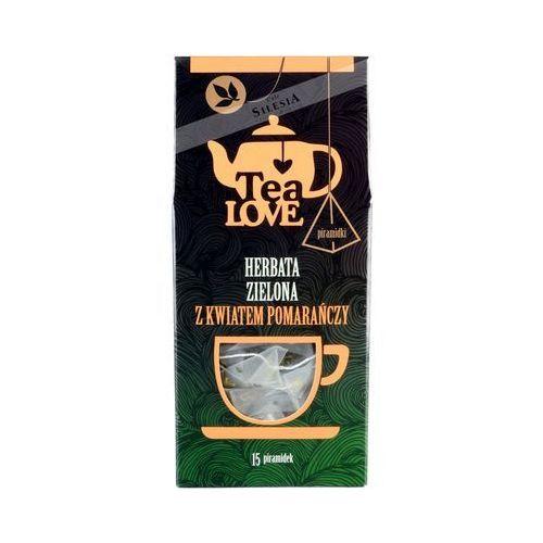Herbata zielona z kwiatem pomarańczy - piramidki 15 szt. marki Tea love