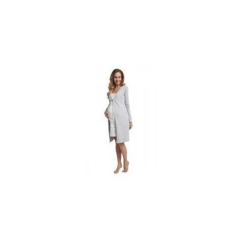 Szlafrok bawełniany ciążowy - Szary (Melanż)