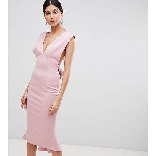 ASOS TALL Deep Plunge Corsage Back Pephem Midi Bodycon Dress - Pink, kolor różowy