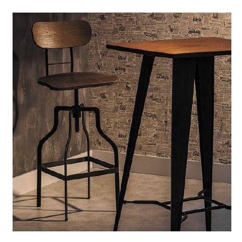 Metalowy hoker z drewnianym siedziskiem i oparciem Drop