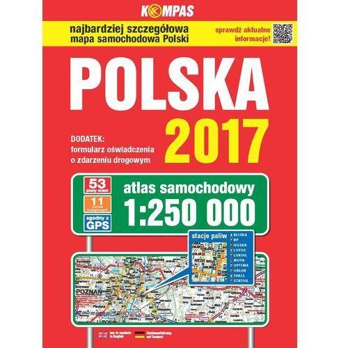 Atlas samochodowy Polski Kompas 1:250 000/2017, oprawa kartonowa