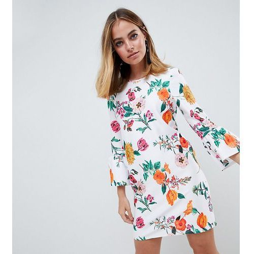 Asos design petite botanical shift mini dress with fluted sleeves - multi marki Asos petite