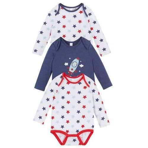 Body niemowlęce z długim rękawem (3 szt.), bawełna organiczna bonprix biały + indygo