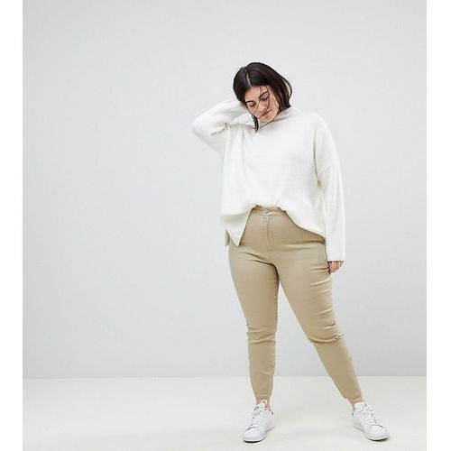 ASOS CURVE Ankle Length Stretch Skinny Trousers With Zip Side Pockets - Clear