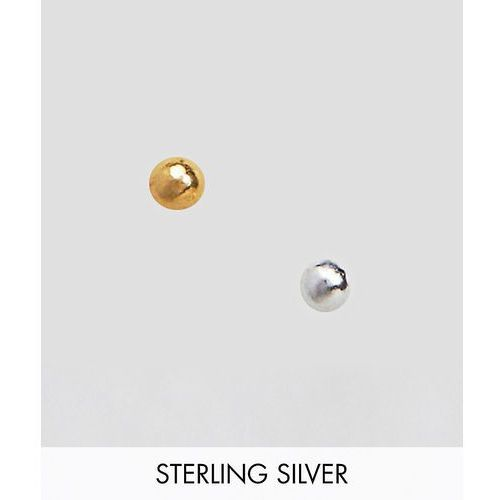 ASOS DESIGN Pack Of 2 Gold Plated And Sterling Silver Fine Nose Studs - Multi