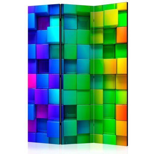 Parawan 3-częściowy - Kolorowe sześciany [Room Dividers]