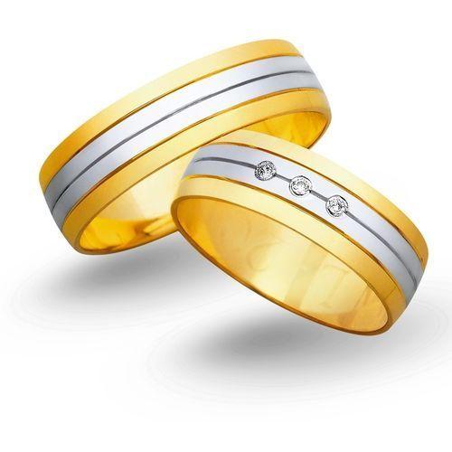 Obrączki z żółtego i białego złota 6mm - O2K/036 - produkt dostępny w Świat Złota