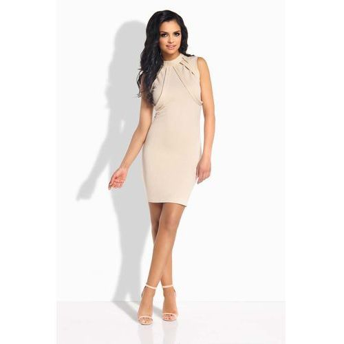 Beżowa Sukienka Ołówkowa Mini z Ozdobnymi Paskami, GL186cr
