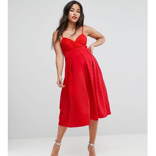 scuba quilted prom midi dress with gathered bodice - red, Asos maternity