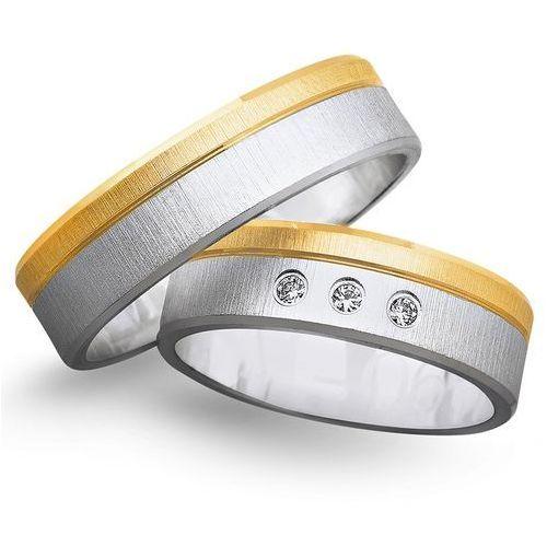 Obrączki z żółtego i białego złota 6mm - O2K/068 - produkt dostępny w Świat Złota