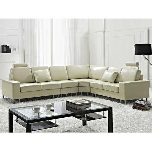 Stylowa sofa kanapa z beżowej skóry naturalnej narożnik stockholm marki Beliani