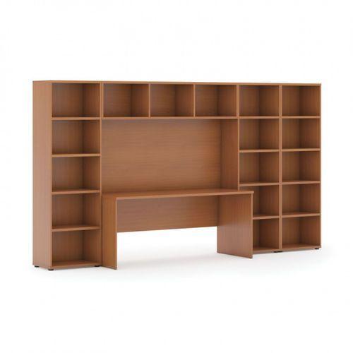 Biblioteka z wbudowanym biurkiem, niska/szeroka, 3350x700/400x1923 mm, czereśnia