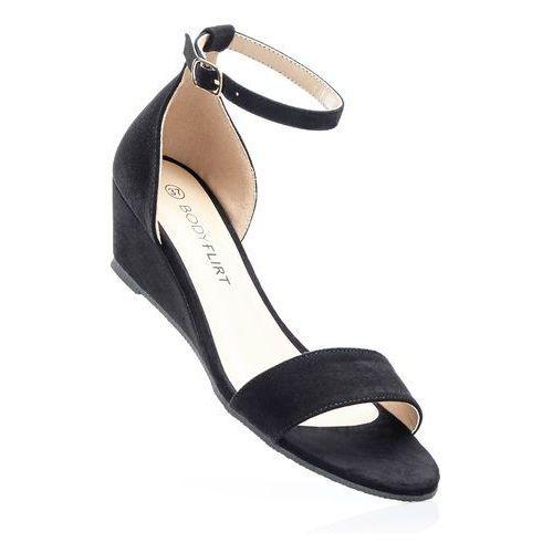 Sandały na koturnie bonprix czarny, kolor czarny