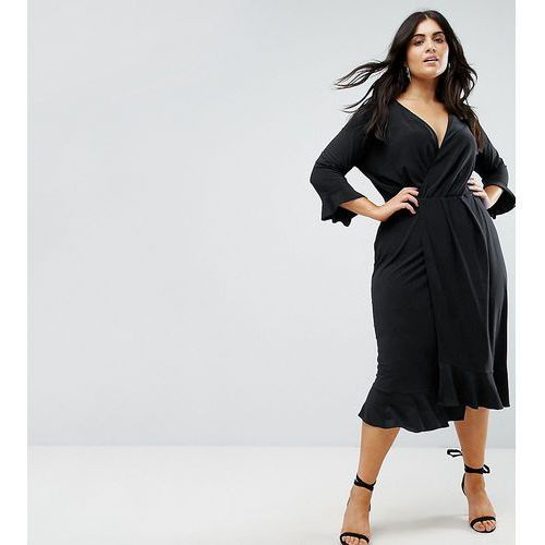 wrap front midi dress with frill detail - navy marki Asos curve