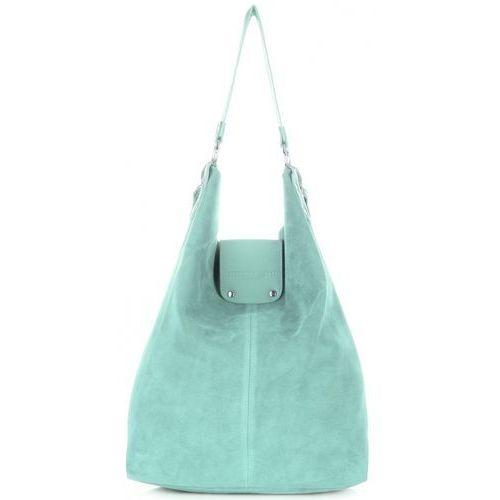 4f75411635e01 Duże torbki skórzane shopperbag xxl made in italy zamsz naturalny wysokiej  jakości miętowa (kolory) marki Vittoria gotti 279